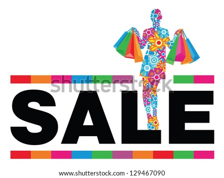 Flower woman silhouette with shopping bags and sale word