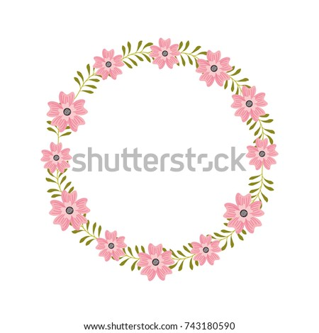 flower wreath floral leaves style decorative element
