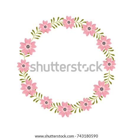 flower wreath floral leaves style decorative element