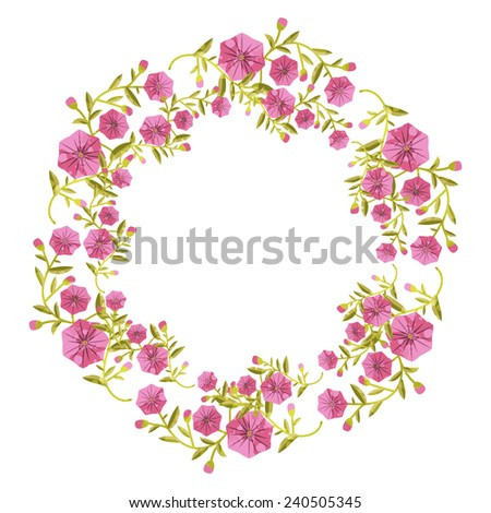 Flower wreath with decorative plants