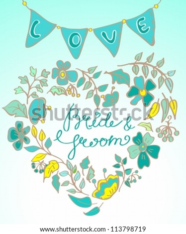 flower wreath with hand drawn text- bride and groom and flags, vector