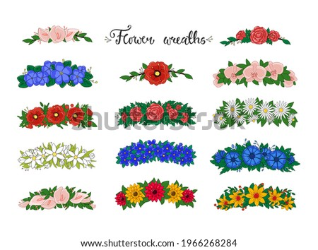 Flower wreaths. Set of flower tiaras with daisies, roses, orchids, poppies, snowdrops. Wedding decor. Vector.  Сток-фото ©