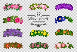 Flower wreaths set. Spring flowers wreath set isolated on transparent background, colorful springtime wedding flowering vector illustration