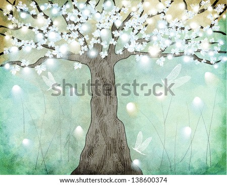 flowering tree   hand drawing