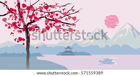 flowering tree with hearts on