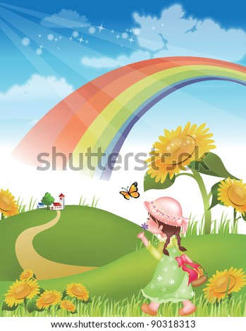 Flowers and a Happy little Girl - walking in green grass with lovely and cute natural friends on spring vacation background with beautiful rural landscape : vector illustration
