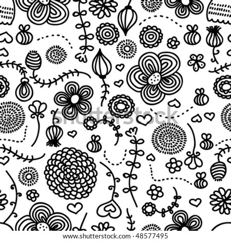 Flowers and bees. Seamless hand drawn pattern