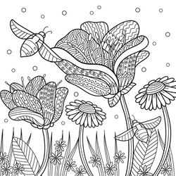 Flowers and bees. Tulips, camomiles and forget-me-nots in the garden. Spring outline illustration for coloring book for adults for relaxing at home. Line art with doodle and zentagle elements.