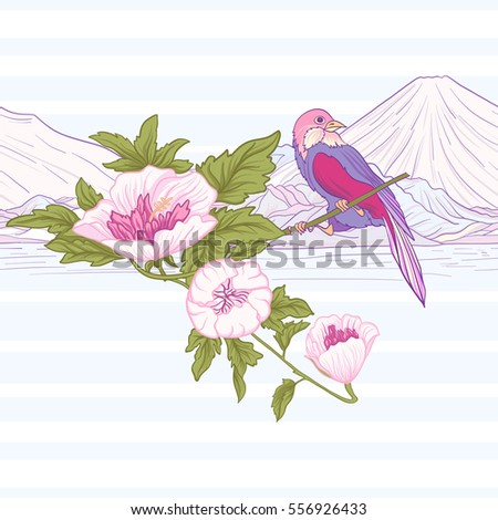 flowers and bird and mount fuji