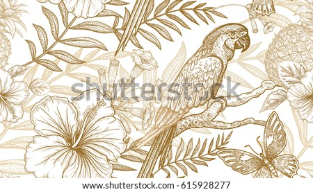 Flowers And Birds Seamless Pattern Hand Drawing Of Wildlife Print Gold Foil On White