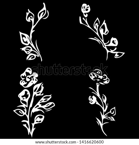 flowers and branches isolated