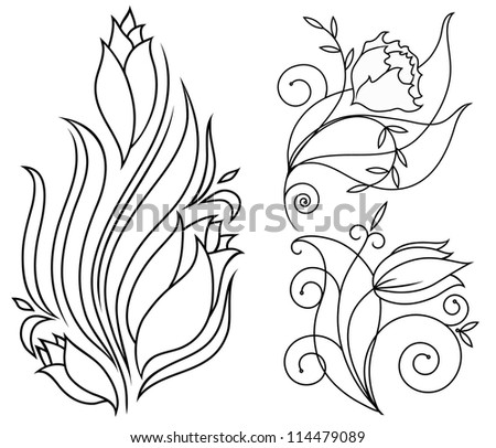 flowers and decor for the vector