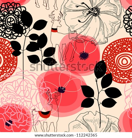 Flowers and deers seamless pattern - stock vector