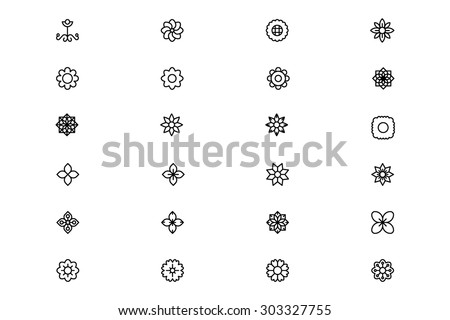 flowers and floral line vector