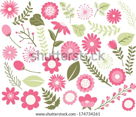 Flowers and Foliage - Pink