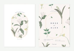 Flowers and foliage wedding invitation card template design, Anise magnolia flowers and various green leaves on light brown