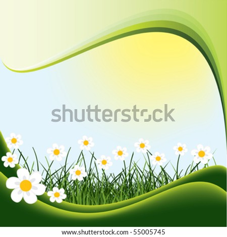 Flowers and grass. Nature background.