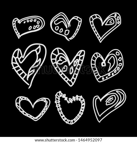 Flowers and hearts isolated on black background. Big vector set. Hand drawn doodle collection. Outline collection. Abstract illustration. eps 10