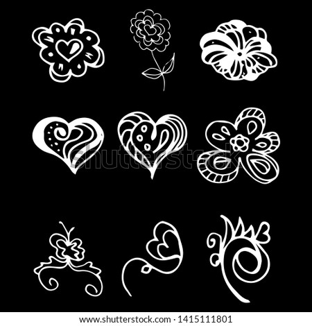 Flowers and hearts  isolated on black background. 6 floral graphic elements. Big vector set. Hand drawn doodle collection. Outline collection.