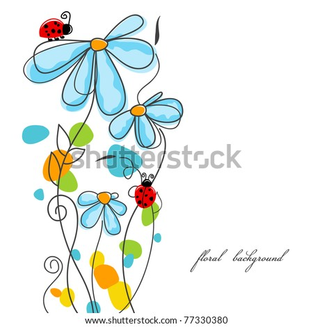 Flowers and ladybugs love story