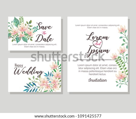 flowers and leafs invitation card #1091425577