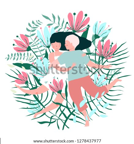 Flowers and Lovers Hug Valentine Card. Flourishing design two young lovers embracing affection.