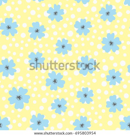 flowers and polka dot drawn by