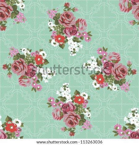 flowers and roses on a green vintage seamless background - stock vector
