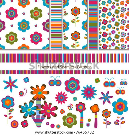 flowers and seamless patterns