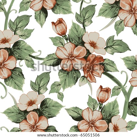 Flowers Apple. Drawing engraving. Freehand realistic pattern. Beautiful background retro Baroque. White blooming flowers isolated. Floral Wallpaper plant pink. Vintage vector victorian illustration