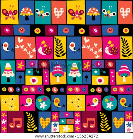 flowers, birds, mushrooms & snails collage nature pattern