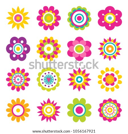 Flowers blooming collection, flowers big set with blossom and flourishing plants, plants with petals vector illustration isolated on white background #1056167921