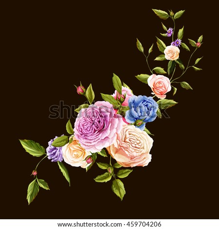 Flowers. Bouquet of roses and peony. Hand drawn flowers. Vector - stock.