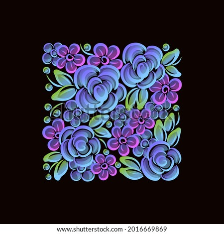 flowers bouquet roses neon gradient Russian folk pattern inscribed in a square Stock photo ©