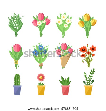 flowers bouquets set tulips