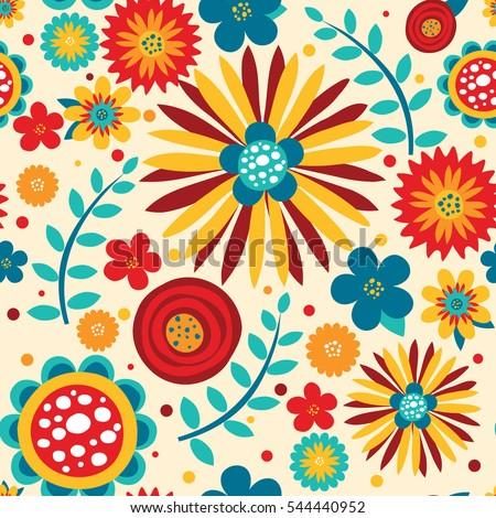 flowers bright seamless pattern