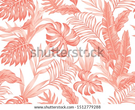 Flowers bromeliad and tropical leaves in artistic monochrome living coral color. Summer seamless vector beach wallpaper on white background. Monochromatic stylish floral pattern tropic illustration