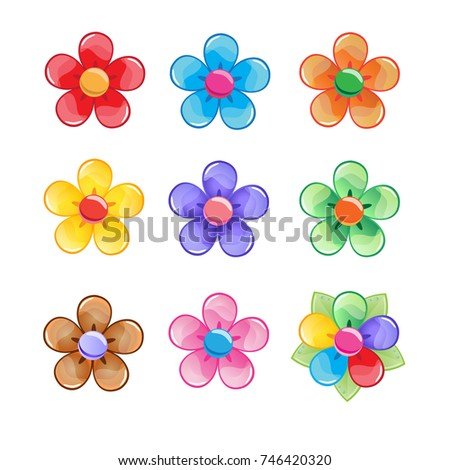 flowers color icon set vector