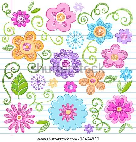 Flowers Colorful Sketchy Doodles Hand-Drawn Back to School Notebook Vector Illustration Design Elements on Lined Sketchbook Paper Background