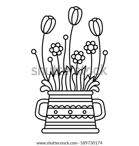 flowers coloring page vector