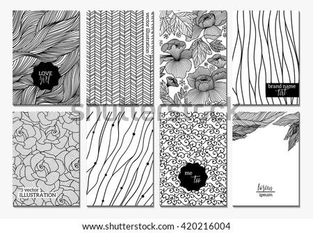 Flowers creative cards template. Elegant design for cafe restaurant heraldic jewelry fashion.