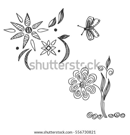 flowers, decor, bee, sketch style #556730821