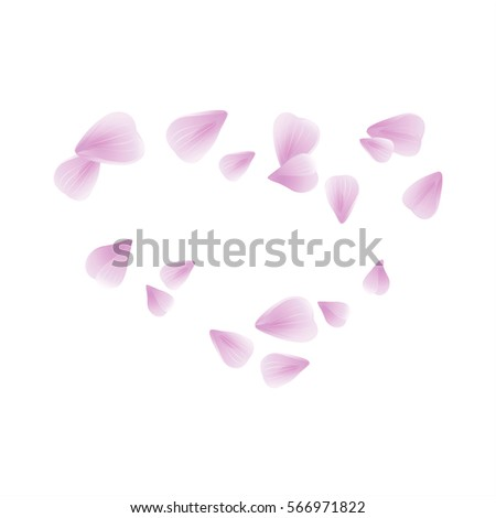 Stock Photo Flowers design. Flowers petals. Abstract background with flying pink, purple rose petals. Vector illustration isolated on white background. Petals Heart. EPS. 10