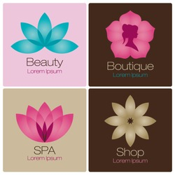 flowers design vector for spa, boutique, beauty salon, cosmetician, shop, yoga class, hotel and resort