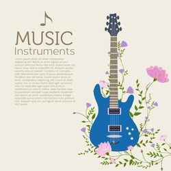 flowers entwined guitar vector background concept