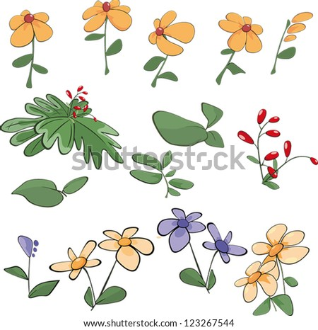 Cartoon Plants And Flowers Flowers grass plants