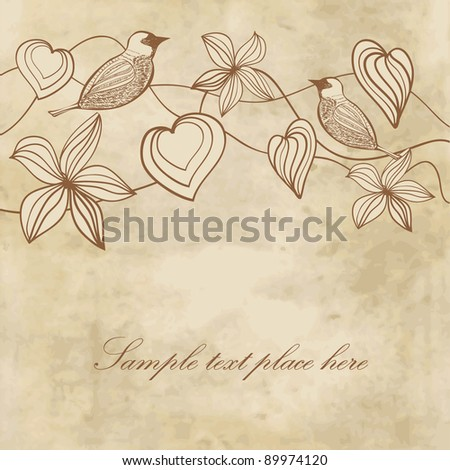 Flowers, hearts and birds on vintage paper background