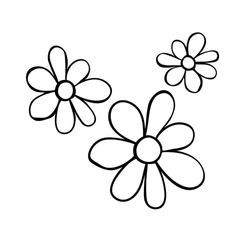 Flowers icon. Hand drawn simple black outline vector illustration clip art in doodle style, isolated on white background