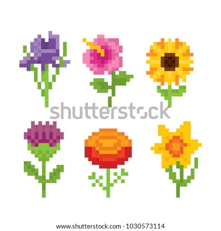 flowers icon set pixel art