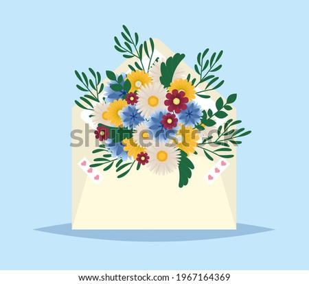 Flowers in envelope. Mail for you. Spring background. Gift fot her. Envelope with spring flowers. Mother s day or Valentine greeting card. Floral greeting message. vector illustration. Stock fotó ©